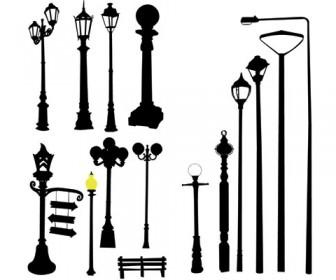 Vector road light pole lamppost street