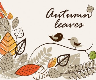 Autumn Background with Leaves and Bird Vector