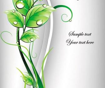 Swirl green leaf cover vector