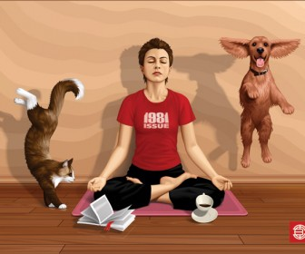 Yoga Man and Pets Vector Graphic
