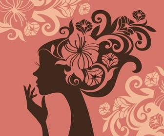 Girl Silhouette Floral Style Vector Illustration