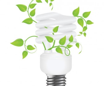 Eco Light with Green Leaves Vector