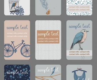 Retro Business card set vector