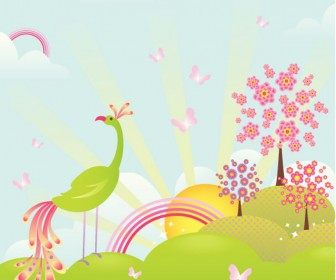 Enchanting Landscape Background Vector.