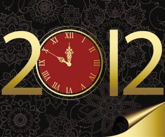2012 New year clock vector