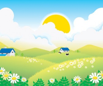 Village summer landscape Vector
