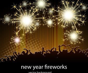 New Year Fireworks Vector Illustration