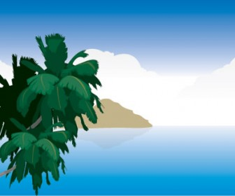 Island Landscape Vector Illustration