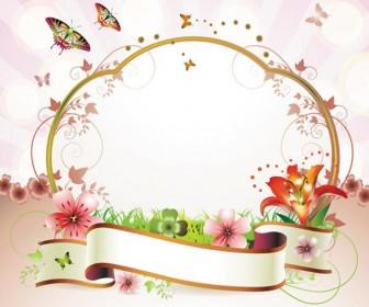 Ribbon Floral Frame Vector