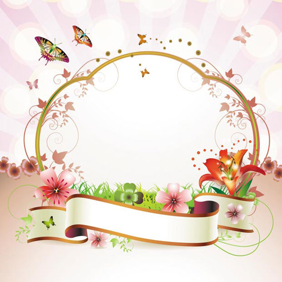 Ribbon Floral Frame Vector Ai Svg Eps Vector Free Download