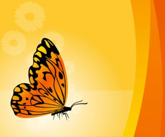 Vector Art Floral Background With Butterfly