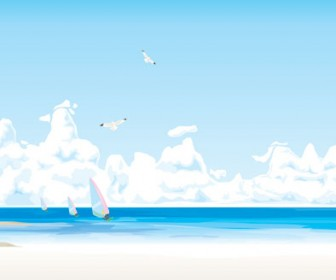 Beach Scene Vector Art