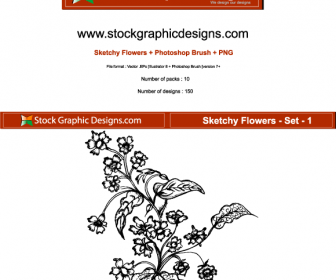 Sketchy Flowers Vector Graphic