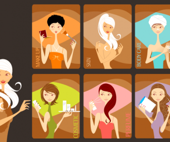 7 Beauty Girls Vector Graphics