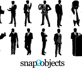 12 Businessman Silhouettes Vector
