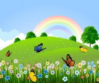 Butterfly & Rainbow Landscape