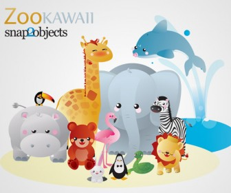 Zoo Kawaii Vector Animals