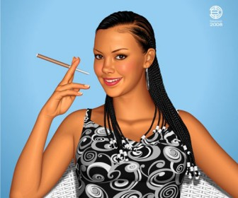 Girl Smoking Vector Art