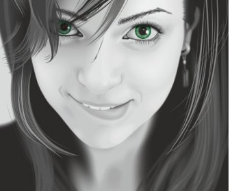 Portrait Girl Vector Art
