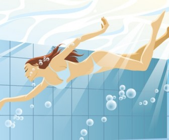 Swimming Girls Vector Art