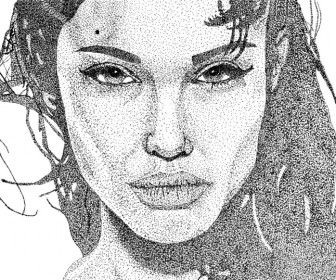 Angelina Jolie Stipple Art