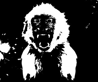 Angry Monkey Silhouette Vector