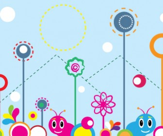 Fuzzy Worms Forest Vector Art