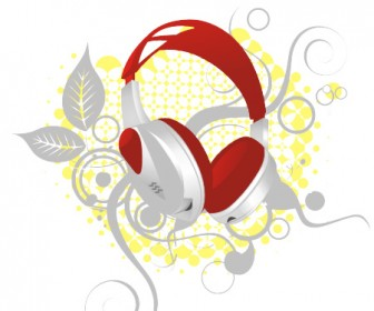 Floral Headphone Vector Art