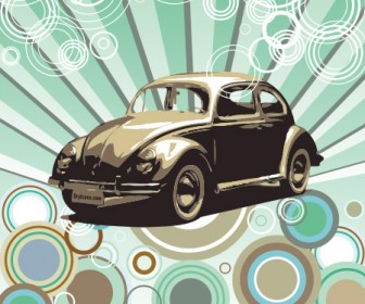 Hippie Beetle Car Vector Illustration