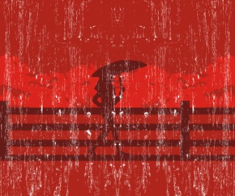 Raining In The Red City Vector