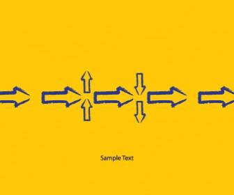 Yellow Arrow Icons Vector Card Template