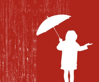 Umbrella Vector Girl In The Rain