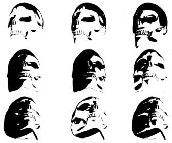 9 Skull Silhouette Vector