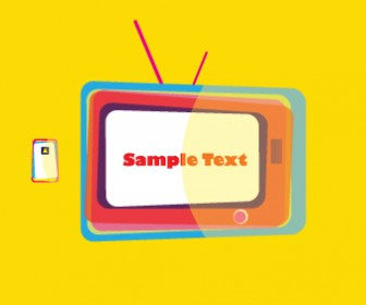 Colorful Television Vector with Remote