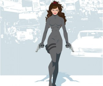Girl on Chinatown Vector