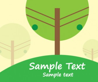 Green Trees Nature Card Vector