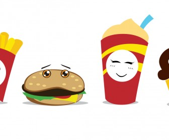 Chibi Combo Meal Funny Icons Vector