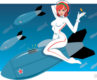 Girl on Space Rocket Vector
