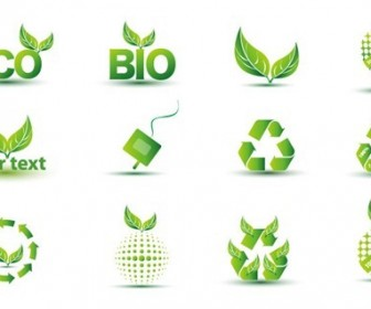 12 Green Eco Icons Vector Pack