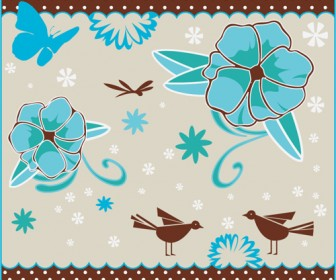 Blue Flowers Pattern Background