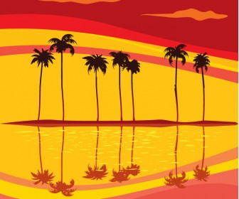 Sunset Beach Vector Background
