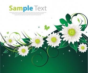 Spring Flower Vector Green Card