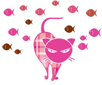 Kitty Vector with School of Fish