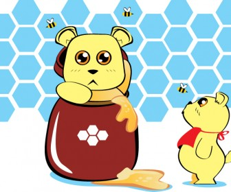 Funny Honey Bears Vector
