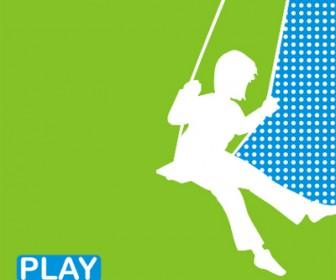 Green Play Card Template Vector