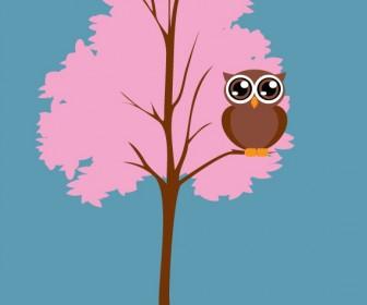 Little Tree Owl Vector