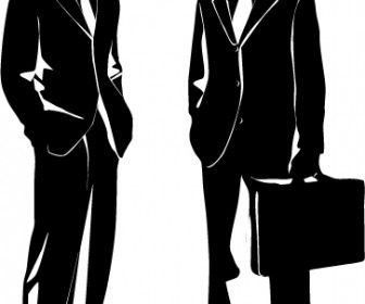 Manga Office Man Silhouette Vector