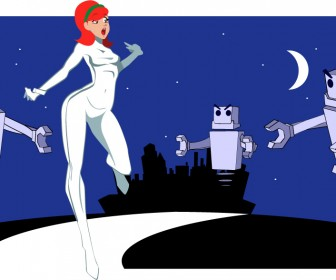 Rocket Girl Vector with Robots