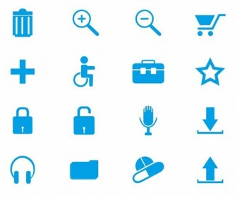 16 Blue Web Icons Vector Set