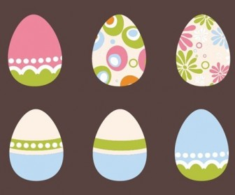 6 Easter Eggs Vector Illustration